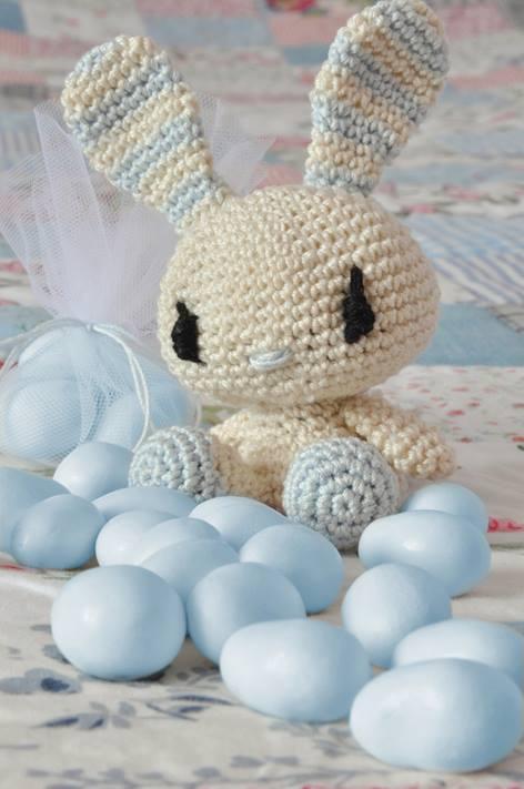 Coniglietto Azzurro Portaconfetti Amigurumi Alluncinettoit